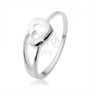 Gyűrű 925 ezüstből szív körvonallal és kettős szárral