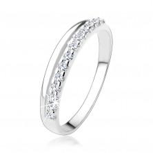 925 ezüst gyűrű sima és átlátszó cirkóniás vonallal