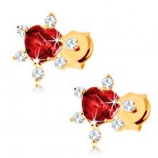 375 arany fülbevaló - szívecskés gránát piros színben, átlátszó cirkóniák