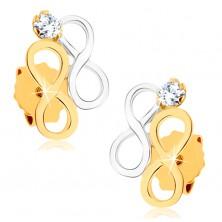 Ródiumozott fülbevaló 9K sárga aranyból - INFINITY szimbólumok kétszínű kivitelezésben
