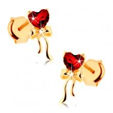 Fülbevaló 9K sárga aranyból - piros gránát szív, fényes masni