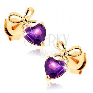 Fülbevaló 9K aranyból - lila ametiszt szív megkötött masnival