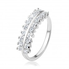 Gyűrű 925 ezüstből, csillogó cirkóniás vonalak, fényes sáv középen
