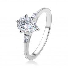 925 ezüst gyűrű, csillogó könnycsepp átlátszó cirkóniából, trapézok