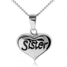 """Állítható nyakék, szívecske """"Sister"""" felirattal, 925 ezüst"""