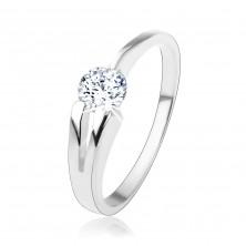 Gyűrű 925 ezüstből, átlátszó, kerek cirkónia, kettős szár