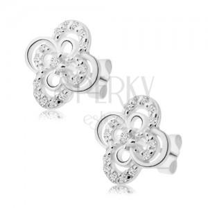 Fülbevaló 925 ezüstből, virág fényes cirkóniás szirom körvonallal