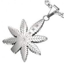 Cannabis medál nemesacélból, cirkónia kövekkel