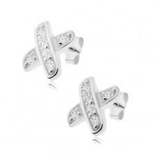 Bedugós fülbevaló, keresztezett vonalak átlátszó cirkóniákkal, 925 ezüst
