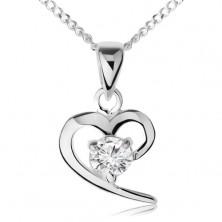 Nyakék 925 ezüstből, aszimmetrikus szív körvonal, átlátszó cirkónia