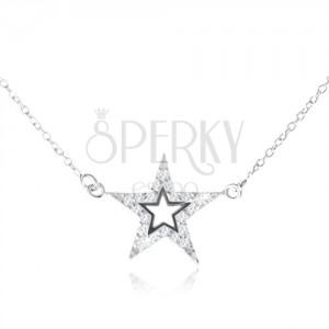 925 ezüst nyakék, ötágú cirkóniás csillag kivágással