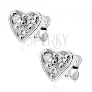 Fülbevaló 925 ezüstből, csillogó szívecske átlátszó cirkóniákkal kirakva
