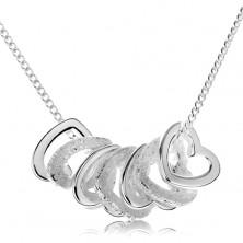 925 ezüst nyakék, hét, kicsi szív kontúr
