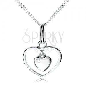 Nyakék 925 ezüstből, kicsi szív lógó szív körvonalban