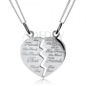 """Két lánc kettős medállal - félbevágott szív """"Best Friends"""", 925 ezüst"""