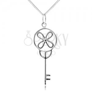 925 ezüst nyakék, lánc medállal, fényes kulcs