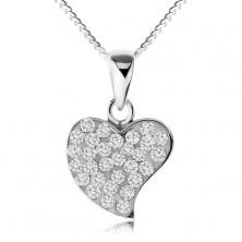 Nyakék 925 ezüstből, csillogó egyenetlen szív, átlátszó cirkóniák