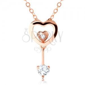 925 ezüst nyakék réz színben, szív körvonal, két kicsi szívecske