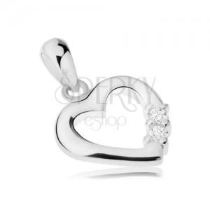 925 ezüst medál, fényes szív kontúr, két átlátszó cirkónia
