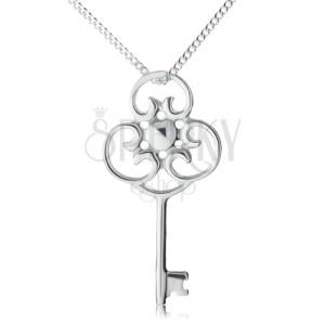 Nyakék 925 ezüstből, díszes régies kulcs láncon