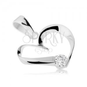 925 ezüst medál, egyenetlen szív körvonal szalagból, átlátszó cirkónia