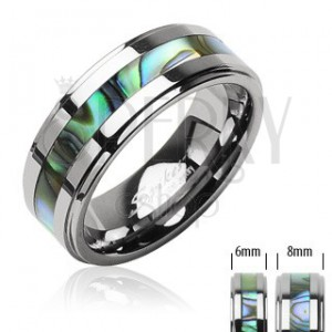 Volfrám gyűrű ezüst színben, kagyló mintázatú középső sáv