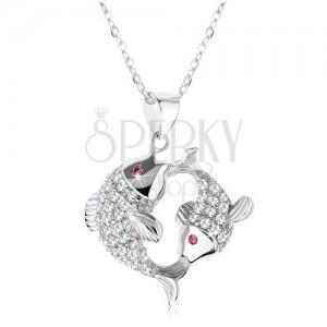925 ezüst nyakék, két csillogó halacska, rózsaszín cirkóniás szemek