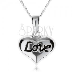 """Állítható nyakék, szívecske """"Love"""" felirattal, 925 ezüst"""