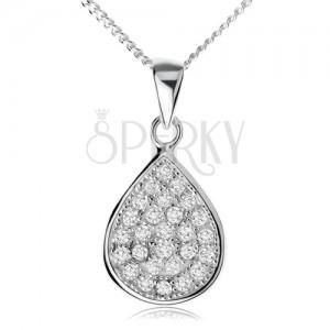 925 ezüst nyakék, csillogó cirkóniás könnycsepp, lánc