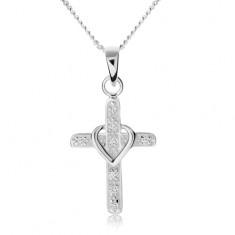 Nyakék 925 ezüstből, kereszt cirkóniákkal díszítve, szív körvonal