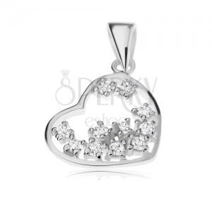 Medál 925 ezüstből, átlátszó cirkóniák szív körvonalba ültetve
