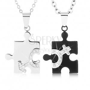 Nyakékek pároknak 316L acélból, puzzle darabok két színben