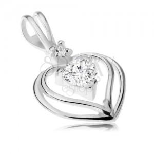 925 ezüst medál - két szív körvonal, átlátszó cirkóniás szívecske