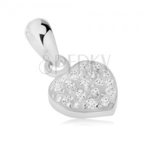 Medál 925 ezüstből, csillogó szimmetrikus szívecske, átlátszó cirkóniák