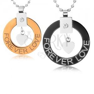 """Nyakékek pároknak sebészeti acélból, kör kontúr, szívecske, """"Forever love"""""""