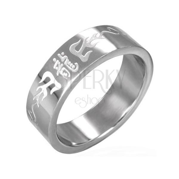 Gyűrű sebészeti acélból - bemart kínai szimbólumok