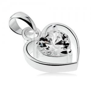 Medál 925 ezüstből, vékony szív körvonal, átlátszó cirkóniás szívecske