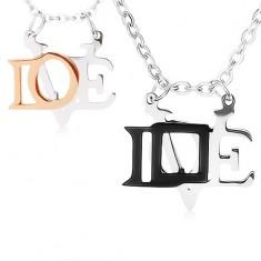 """Nyakékek 316L acélból szerelmeseknek, fényes """"LOVE"""" medálok"""