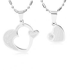 Szett acél nyakékekből pároknak, szívek ezüst színben, átlátszó cirkóniák
