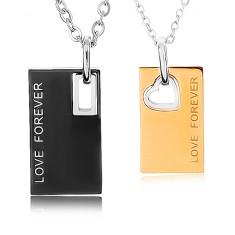 """Nyakékek 316L acélból, tábla """"LOVE FOREVER"""" felirattal, kétszínű"""