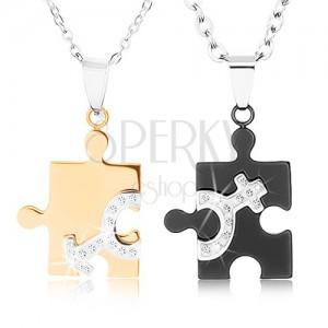 Nyakékek 316L acélból pároknak, puzzle két színben, nő és férfi szimbólumok