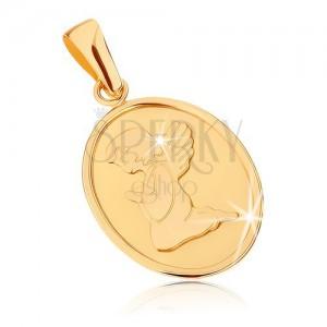375 arany medál - ovális, lapos tábla, angyal ima közben