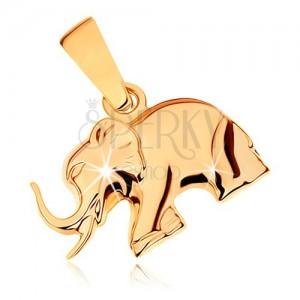 Medál 9K sárga aranyból - csillogó lépkedő elefánt