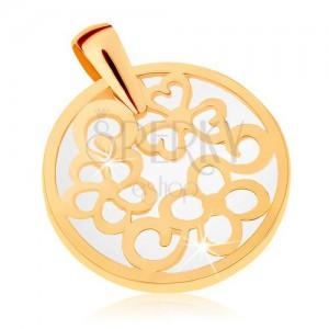 Medál 9K sárga aranyból - kör kontúr mintával, gyöngyházfényű alap