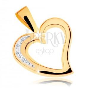 375 arany medál - egyenetlen szív körvonal, átlátszó cirkóniák