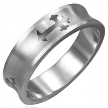 Gyűrű minőségi acélból - Fleur de Lis kereszt