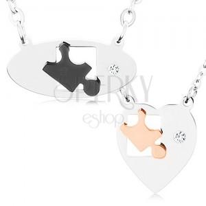 Nyakékek sebészeti acélból pároknak, ovális és szív, puzzle darabok, cirkónia
