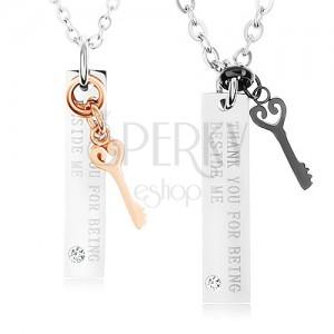 Két acél nyakék, dísz kulcsok, táblák - felirat, cirkónia