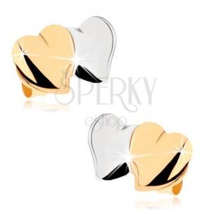 Bedugós fülbevaló 9K aranyból - fényes kidoborodó szívecskék, készínű