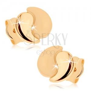Fülbevaló 9K sárga aranyból - két hajlított könnycsepp, fényes és matt